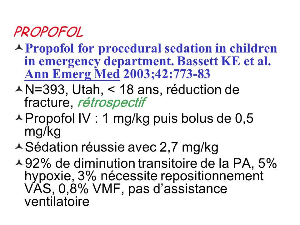 PROPOFOL Propofol for procedural sedation in children in emergency department. Bassett KE et al. Ann Emerg Med 2003;42:773-83 N=393, Utah, < 18 ans, r