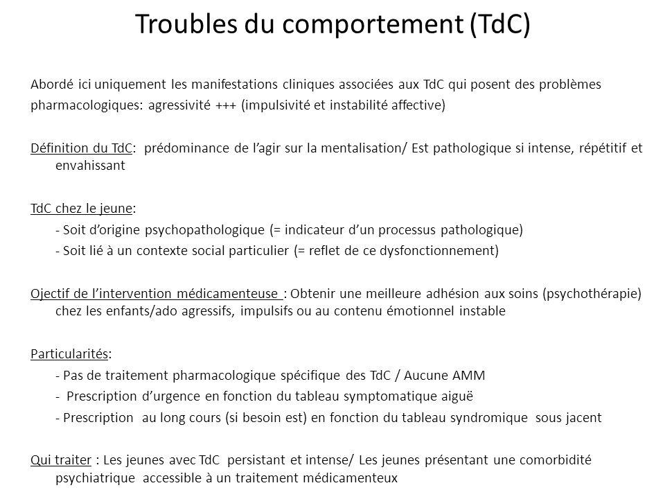 Troubles du comportement (TdC) Abordé ici uniquement les manifestations cliniques associées aux TdC qui posent des problèmes pharmacologiques: agressi