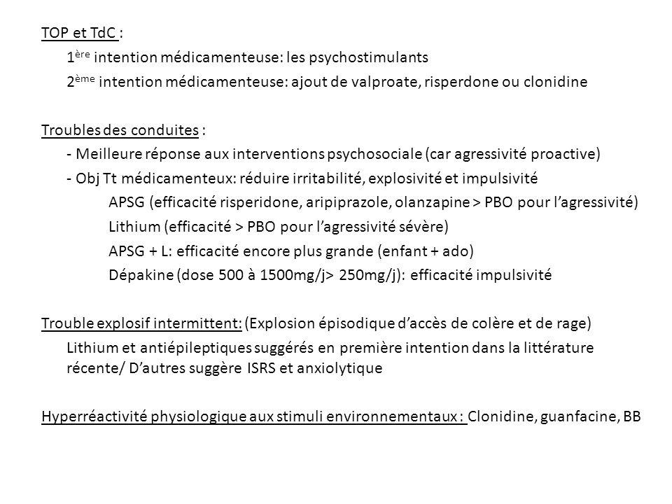 TOP et TdC : 1 ère intention médicamenteuse: les psychostimulants 2 ème intention médicamenteuse: ajout de valproate, risperdone ou clonidine Troubles