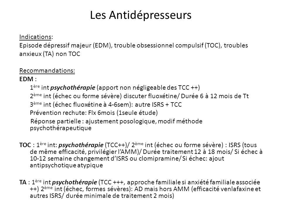 Etudes/ Efficacité : EDM: AMM : Fluoxétine, à partir de 8 ans Flx 20mg vs PBO 5sem (56% vs 33% p =.02)/ Flx + TCC : accélération de leffet thérapeutique / Flx>TCC (mais effet identique après 18sem)/ Flx +TCC > FLX ou TCC seul/ Rechutes: Flx vs PBO (42% vs 69% + délai de rechute) Bénéfice thérapeutique de lAD augmente avec lâge Autres ISRS : pas de différence significative avec le PBO/ Adt: pas de bénéfice significatif en pop pédiatrique TOC: AMM Sertraline et fluvoxamine Efficacité > au PBO chez lenfant et ladolescent quelque soit lISRS choisit Traitement combiné ISRS + TCC : bénéfice thérapeutique plus important Trouble anxieux non TOC Efficacité thérapeutique supérieure des ISRS vs PBO (69% vs 39%)/ Efficacité supérieur ISRS + TCC vs ISRS seul ou TCC seule Tolérance/ Effets secondaires : - Risque suicidaire (sous AD > placebo jusquà 25 ans/ effets suicidaires 3% des patients) - Effet endocrinien (probable mais peu détude) - Toxicité létale (si surdosage toxicité élevé; ADt > Mirtazapine et Venlafaxine > ISRS) Modalités de prescription / Surveillance: - Psychoéducation patient-famille sur risque suicidaire, surveillance adapté en phase aiguë - Surveillance + bilan endocrinien chez lenfant pré-pubère exposé aux ISRS long cours