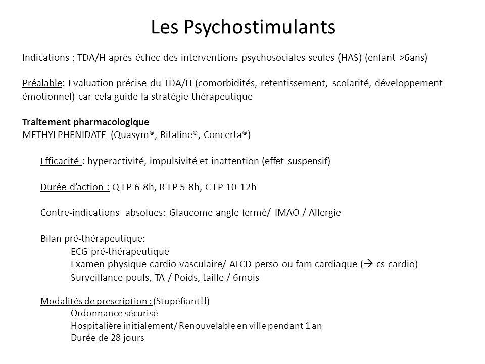 Les Psychostimulants Indications : TDA/H après échec des interventions psychosociales seules (HAS) (enfant >6ans) Préalable: Evaluation précise du TDA