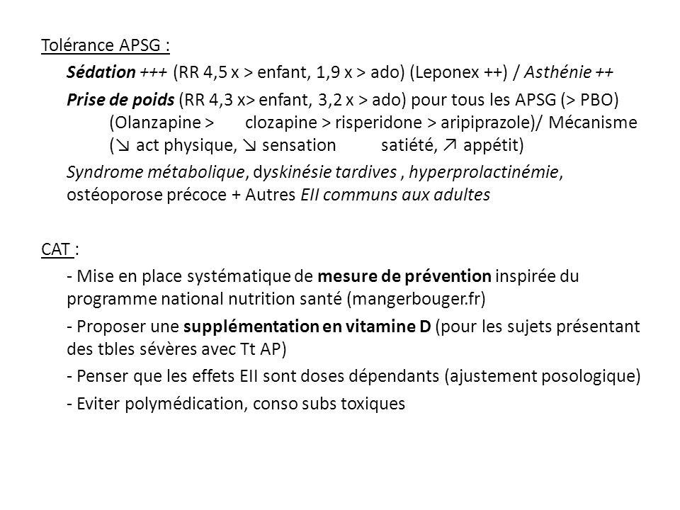 Tolérance APSG : Sédation +++ (RR 4,5 x > enfant, 1,9 x > ado) (Leponex ++) / Asthénie ++ Prise de poids (RR 4,3 x> enfant, 3,2 x > ado) pour tous les