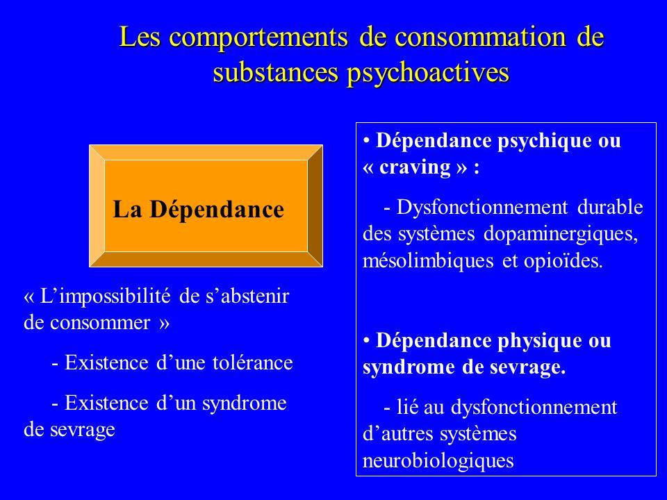 Les comportements de consommation de substances psychoactives La Dépendance Dépendance psychique ou « craving » : - Dysfonctionnement durable des syst