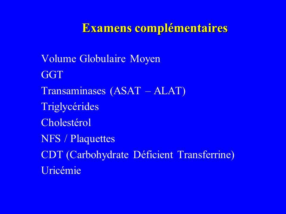 Examens complémentaires Volume Globulaire Moyen GGT Transaminases (ASAT – ALAT) Triglycérides Cholestérol NFS / Plaquettes CDT (Carbohydrate Déficient