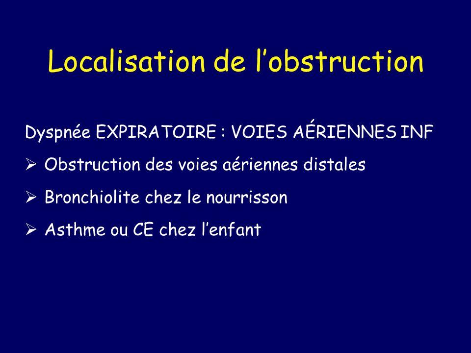 Localisation de lobstruction Dyspnée EXPIRATOIRE : VOIES AÉRIENNES INF Obstruction des voies aériennes distales Bronchiolite chez le nourrisson Asthme