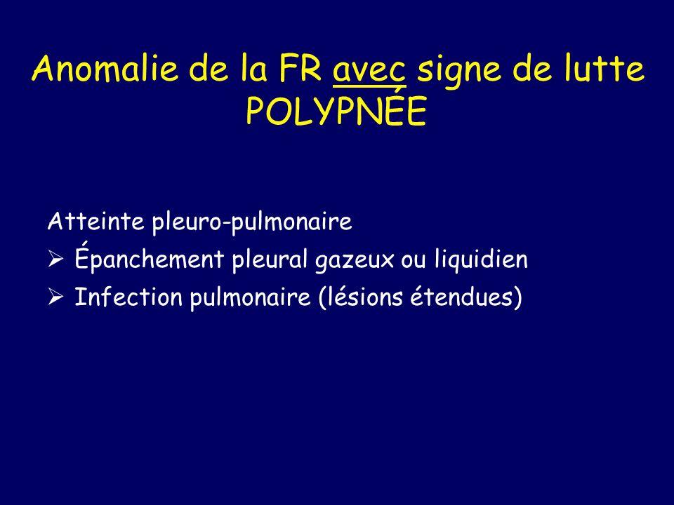 Anomalie de la FR avec signe de lutte POLYPNÉE Atteinte pleuro-pulmonaire Épanchement pleural gazeux ou liquidien Infection pulmonaire (lésions étendu
