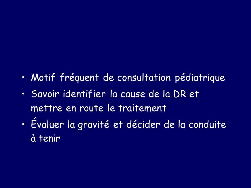 Motif fréquent de consultation pédiatrique Savoir identifier la cause de la DR et mettre en route le traitement Évaluer la gravité et décider de la co