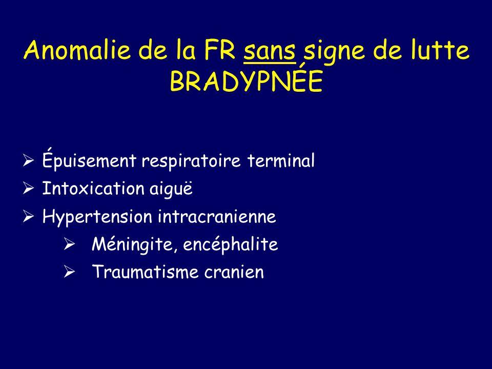 Anomalie de la FR sans signe de lutte BRADYPNÉE Épuisement respiratoire terminal Intoxication aiguë Hypertension intracranienne Méningite, encéphalite