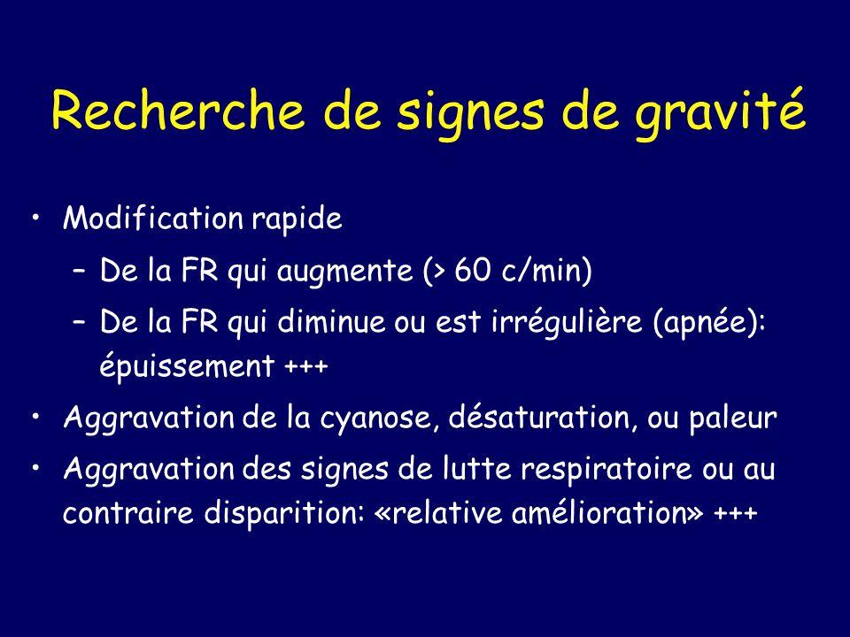 Recherche de signes de gravité Modification rapide –De la FR qui augmente (> 60 c/min) –De la FR qui diminue ou est irrégulière (apnée): épuissement +