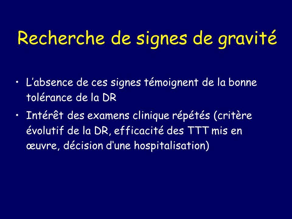 Recherche de signes de gravité Labsence de ces signes témoignent de la bonne tolérance de la DR Intérêt des examens clinique répétés (critère évolutif