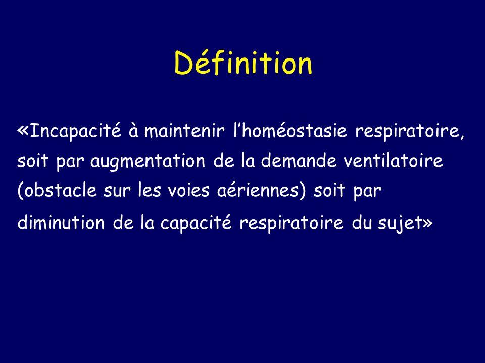 Définition « Incapacité à maintenir lhoméostasie respiratoire, soit par augmentation de la demande ventilatoire (obstacle sur les voies aériennes) soi
