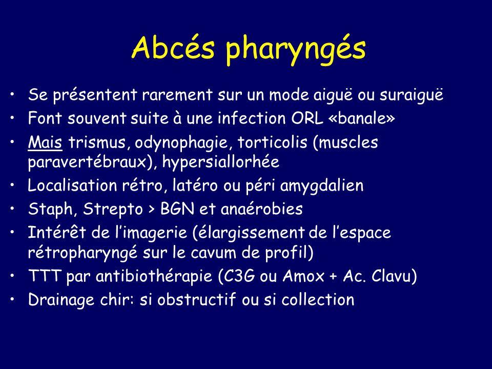 Abcés pharyngés Se présentent rarement sur un mode aiguë ou suraiguë Font souvent suite à une infection ORL «banale» Mais trismus, odynophagie, tortic