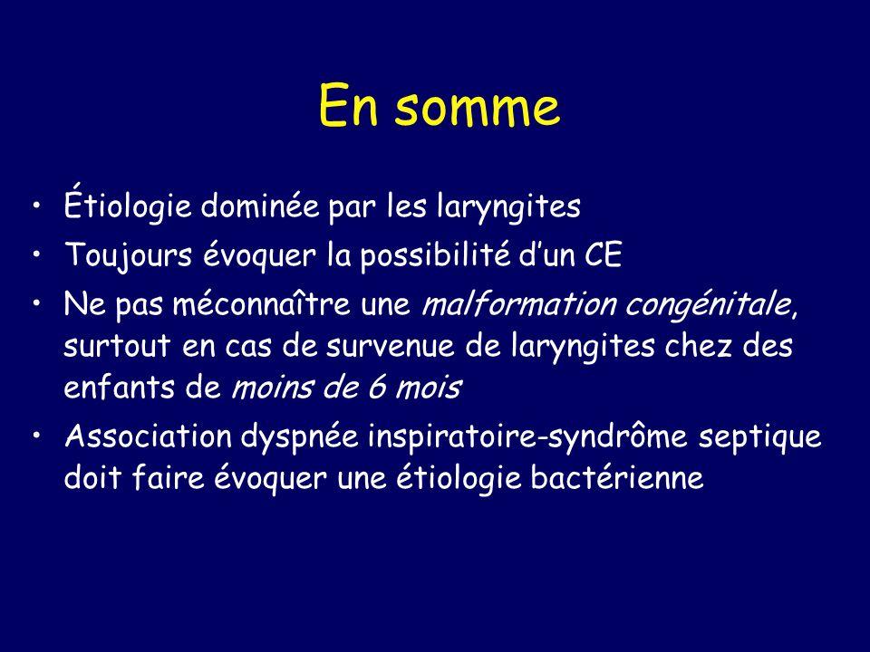 En somme Étiologie dominée par les laryngites Toujours évoquer la possibilité dun CE Ne pas méconnaître une malformation congénitale, surtout en cas d