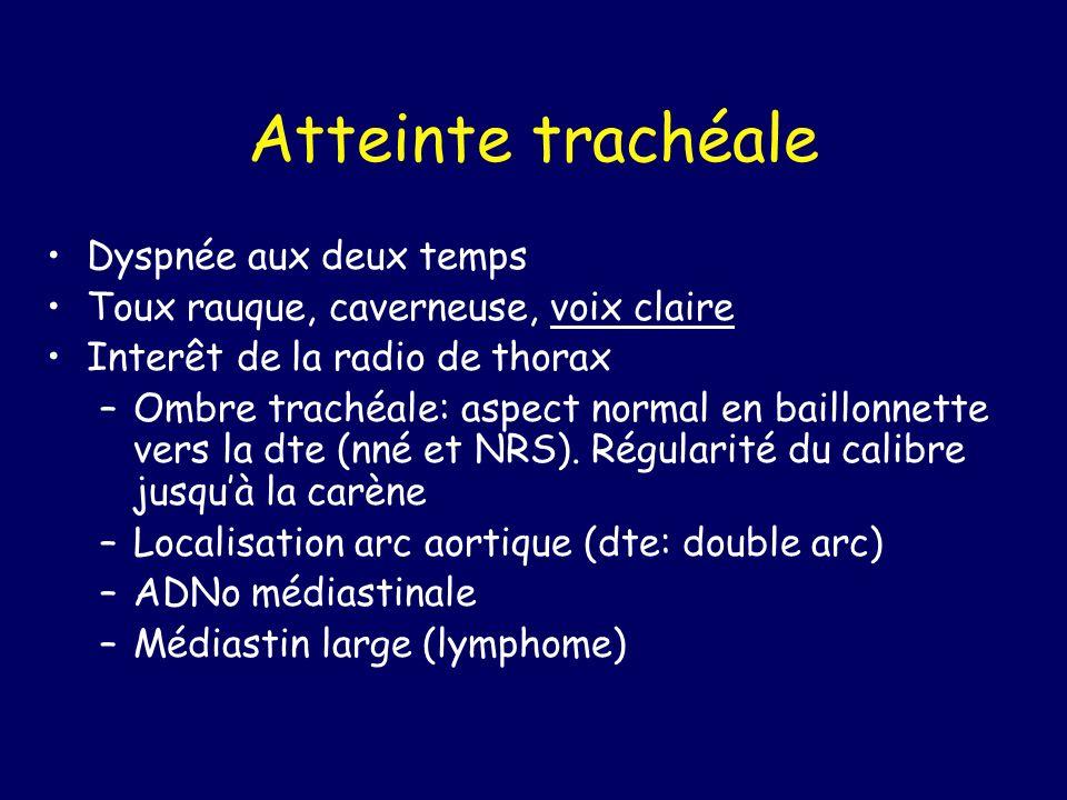 Atteinte trachéale Dyspnée aux deux temps Toux rauque, caverneuse, voix claire Interêt de la radio de thorax –Ombre trachéale: aspect normal en baillo
