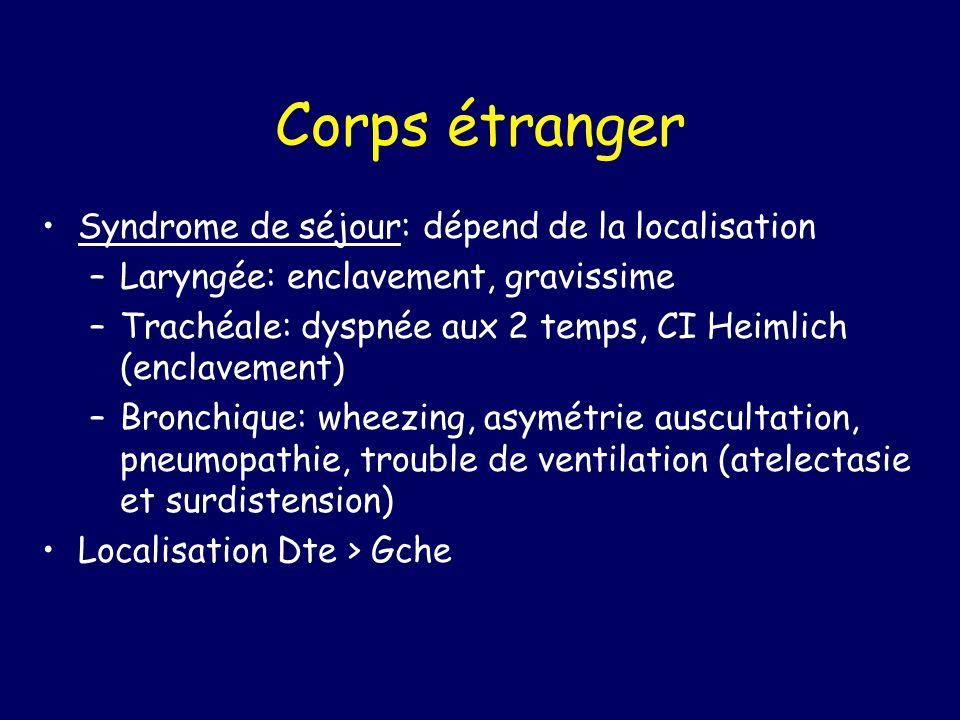 Corps étranger Syndrome de séjour: dépend de la localisation –Laryngée: enclavement, gravissime –Trachéale: dyspnée aux 2 temps, CI Heimlich (enclavem