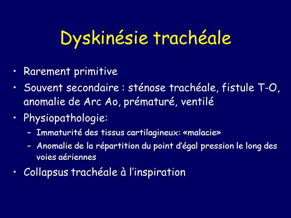 Dyskinésie trachéale Rarement primitive Souvent secondaire : sténose trachéale, fistule T-O, anomalie de Arc Ao, prématuré, ventilé Physiopathologie: