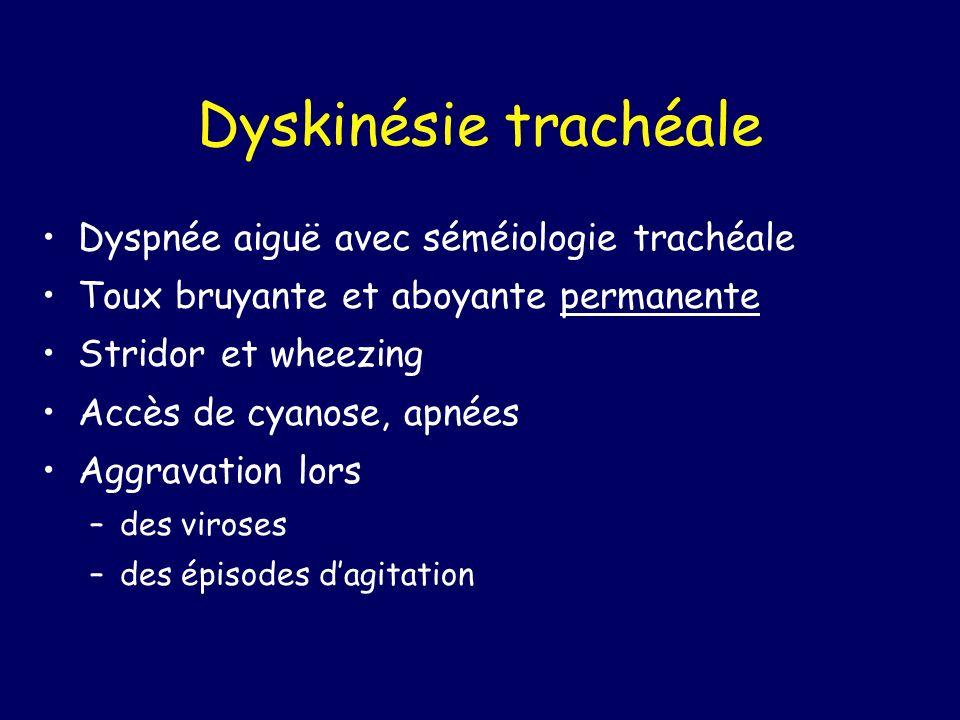 Dyskinésie trachéale Dyspnée aiguë avec séméiologie trachéale Toux bruyante et aboyante permanente Stridor et wheezing Accès de cyanose, apnées Aggrav