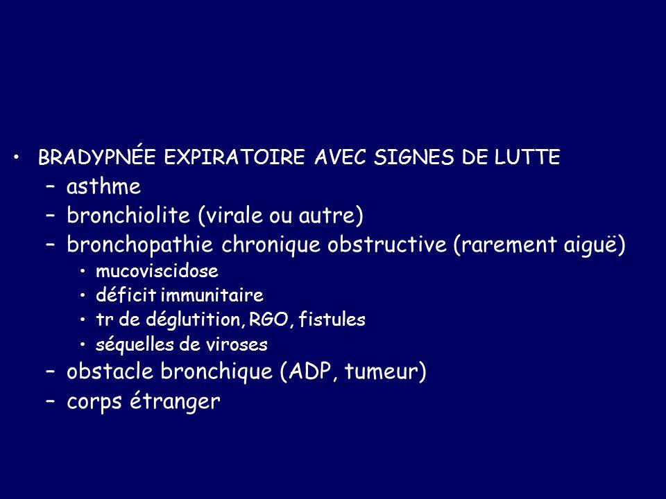 BRADYPNÉE EXPIRATOIRE AVEC SIGNES DE LUTTE –asthme –bronchiolite (virale ou autre) –bronchopathie chronique obstructive (rarement aiguë) mucoviscidose