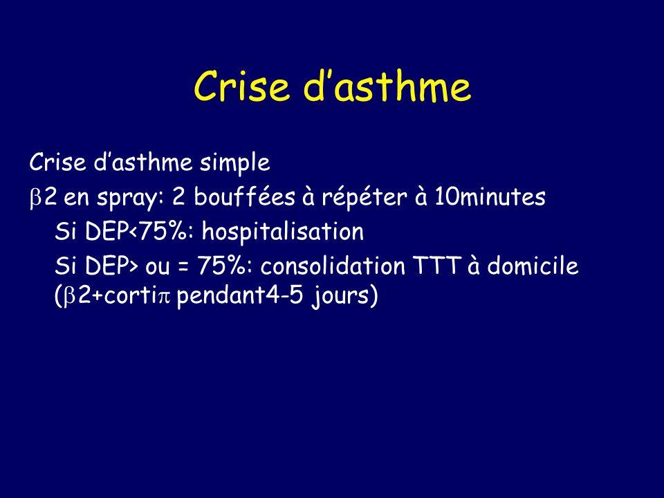Crise dasthme Crise dasthme simple 2 en spray: 2 bouffées à répéter à 10minutes Si DEP<75%: hospitalisation Si DEP> ou = 75%: consolidation TTT à domi