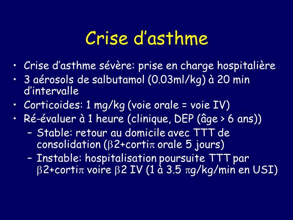 Crise dasthme Crise dasthme sévère: prise en charge hospitalière 3 aérosols de salbutamol (0.03ml/kg) à 20 min dintervalle Corticoides: 1 mg/kg (voie