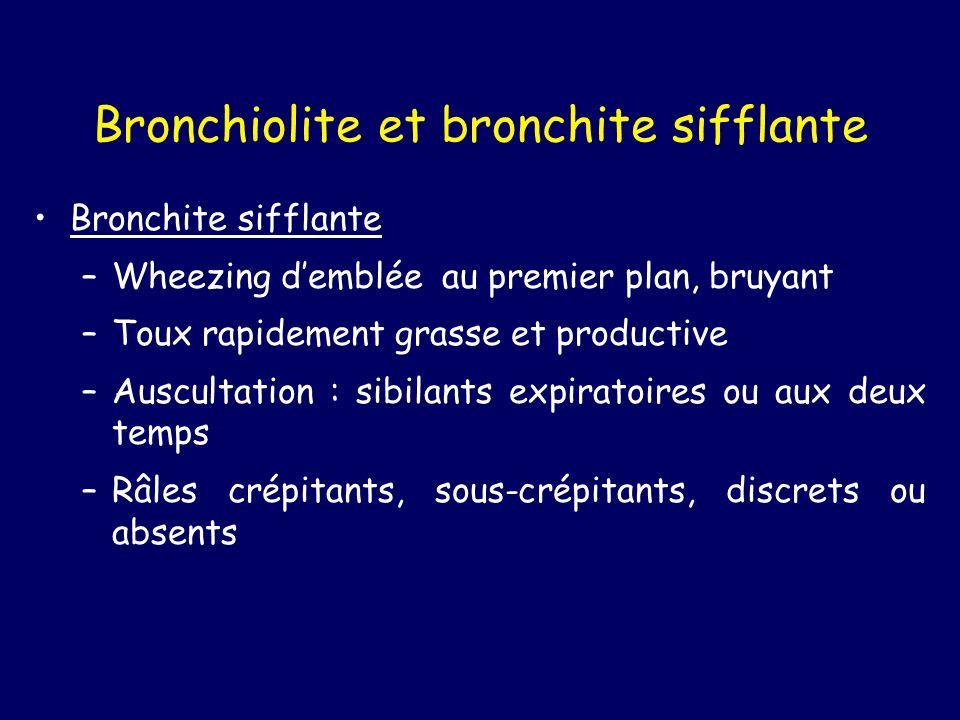 Bronchiolite et bronchite sifflante Bronchite sifflante –Wheezing demblée au premier plan, bruyant –Toux rapidement grasse et productive –Auscultation