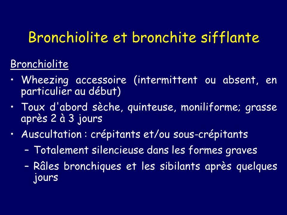 Bronchiolite et bronchite sifflante Bronchiolite Wheezing accessoire (intermittent ou absent, en particulier au début) Toux d'abord sèche, quinteuse,