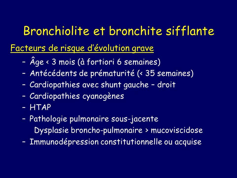 Bronchiolite et bronchite sifflante Facteurs de risque dévolution grave –Âge < 3 mois (à fortiori 6 semaines) –Antécédents de prématurité (< 35 semain