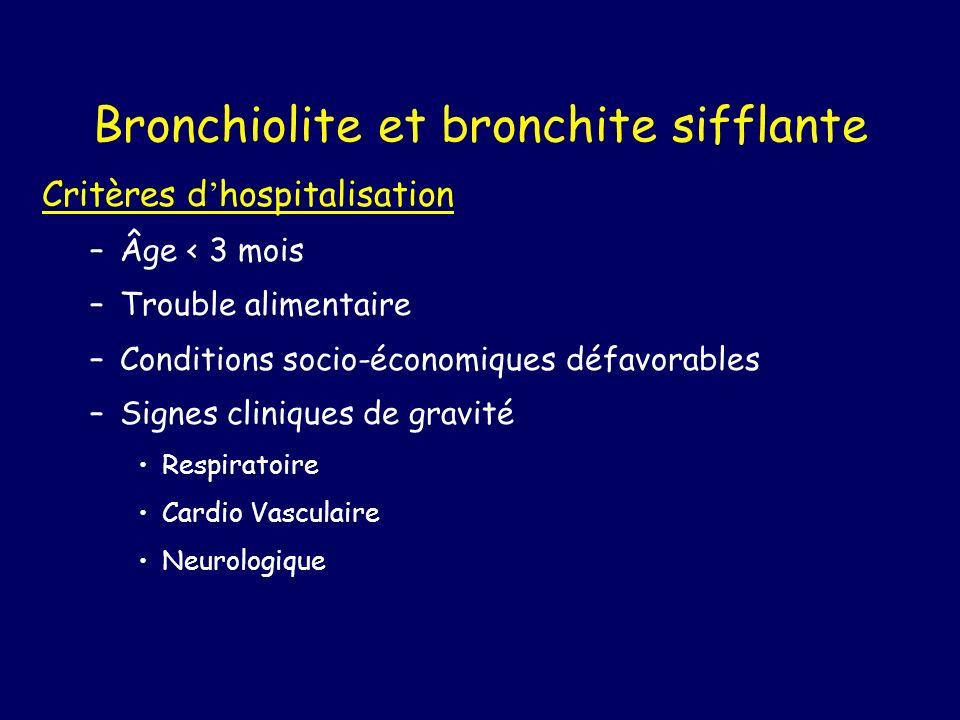 Bronchiolite et bronchite sifflante Critères d hospitalisation –Âge < 3 mois –Trouble alimentaire –Conditions socio-économiques défavorables –Signes c