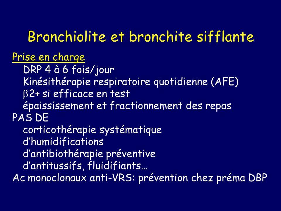 Bronchiolite et bronchite sifflante Prise en charge DRP 4 à 6 fois/jour Kinésithérapie respiratoire quotidienne (AFE) 2+ si efficace en test épaississ