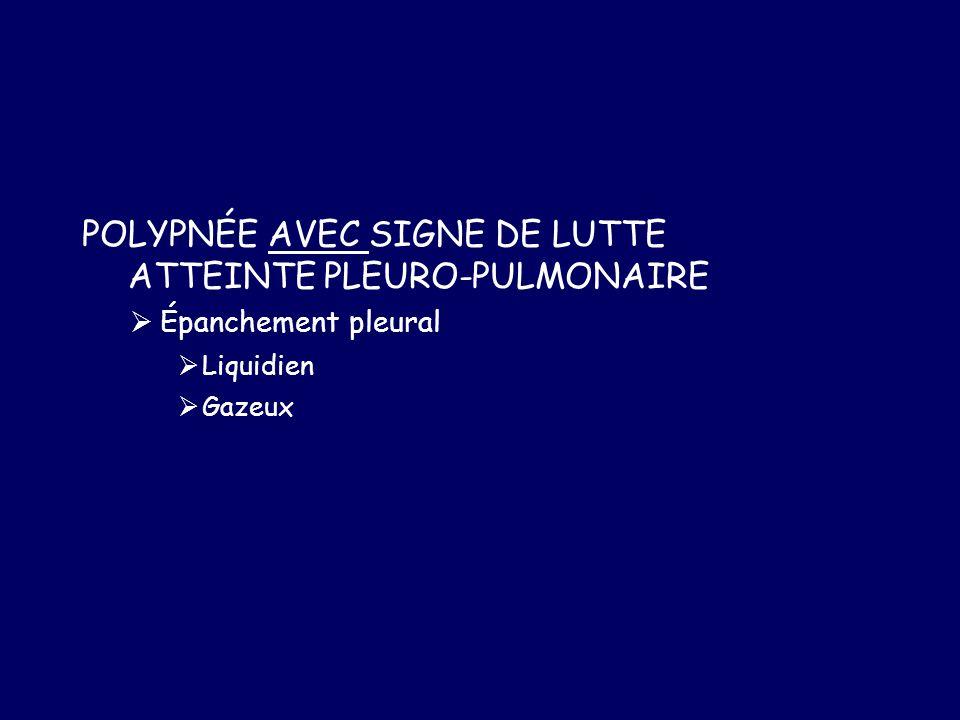 POLYPNÉE AVEC SIGNE DE LUTTE ATTEINTE PLEURO-PULMONAIRE Épanchement pleural Liquidien Gazeux