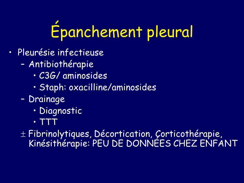 Épanchement pleural Pleurésie infectieuse –Antibiothérapie C3G/ aminosides Staph: oxacilline/aminosides –Drainage Diagnostic TTT Fibrinolytiques, Déco