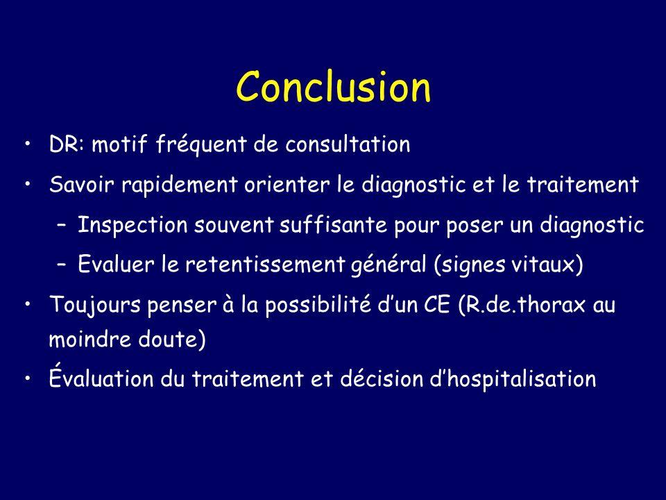 Conclusion DR: motif fréquent de consultation Savoir rapidement orienter le diagnostic et le traitement –Inspection souvent suffisante pour poser un d