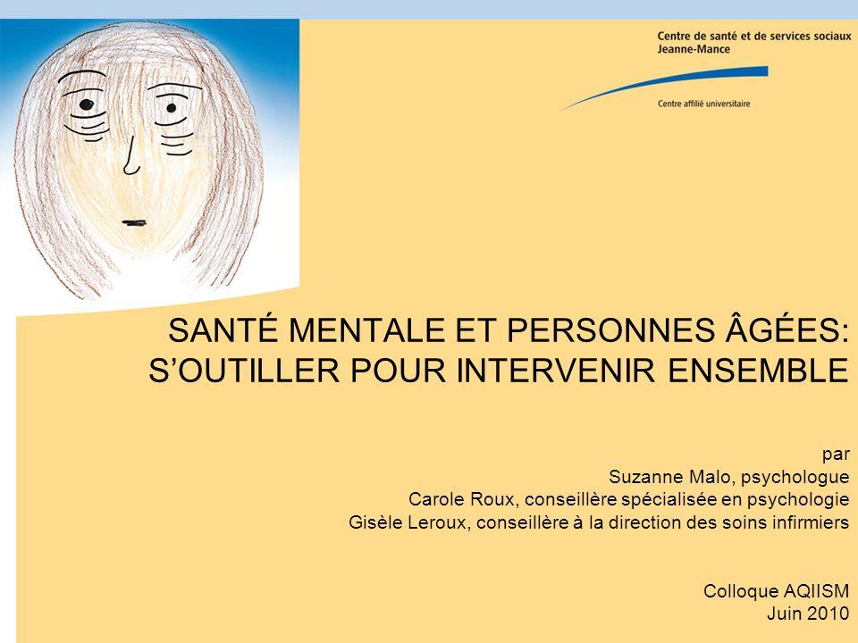Boîte à outils «Santé mentale et personnes âgées, soutiller pour intervenir ensemble» Lauréate pour lédition 2009 Prix Innovation clinique 3M de lOrdre régional des infirmières et infirmiers de Montréal/Laval