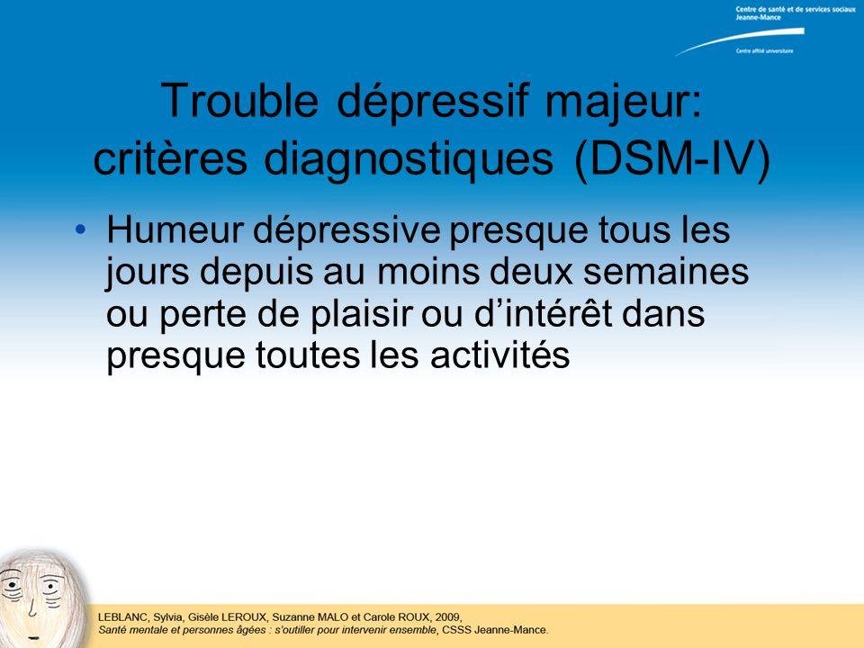 Trouble dépressif majeur: critères diagnostiques (DSM-IV) Humeur dépressive presque tous les jours depuis au moins deux semaines ou perte de plaisir o