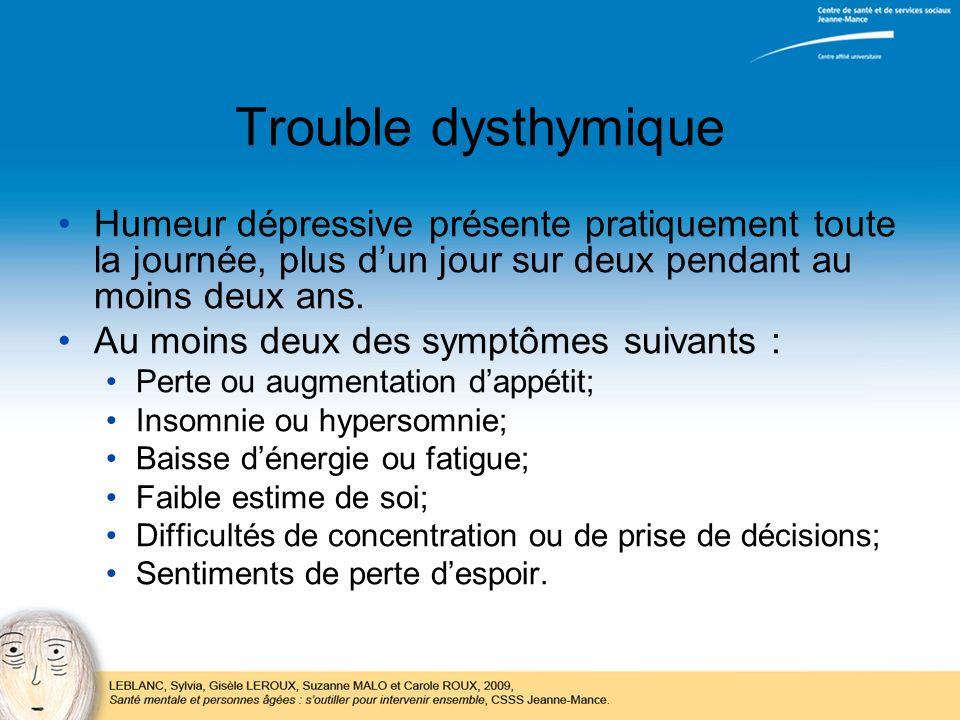 Trouble dysthymique Humeur dépressive présente pratiquement toute la journée, plus dun jour sur deux pendant au moins deux ans. Au moins deux des symp