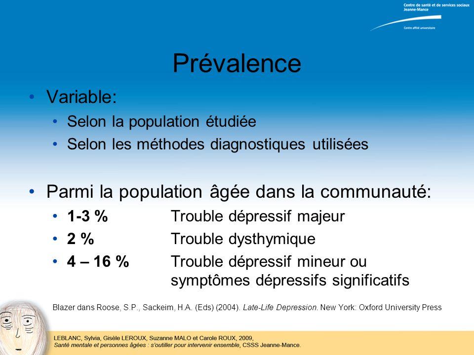 Prévalence Variable: Selon la population étudiée Selon les méthodes diagnostiques utilisées Parmi la population âgée dans la communauté: 1-3 %Trouble
