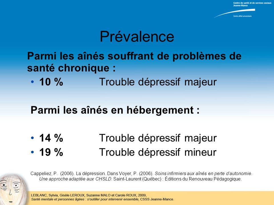 Prévalence Parmi les aînés souffrant de problèmes de santé chronique : 10 %Trouble dépressif majeur Parmi les aînés en hébergement : 14 %Trouble dépre