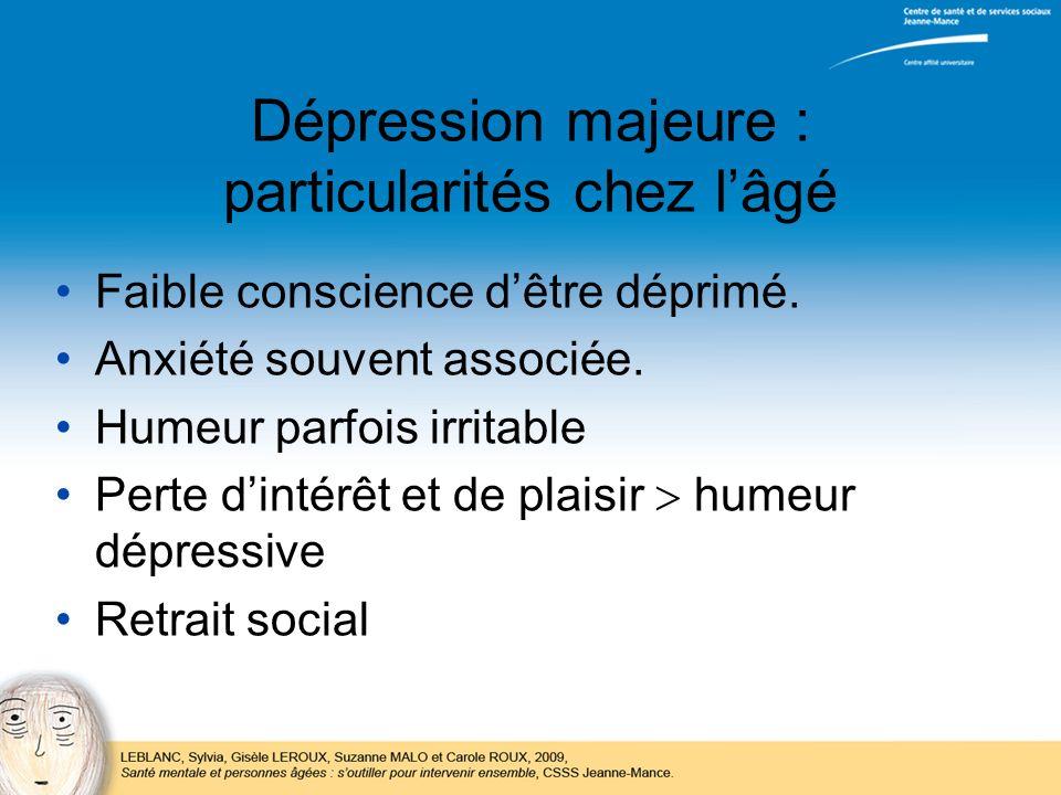 Dépression majeure : particularités chez lâgé Faible conscience dêtre déprimé. Anxiété souvent associée. Humeur parfois irritable Perte dintérêt et de