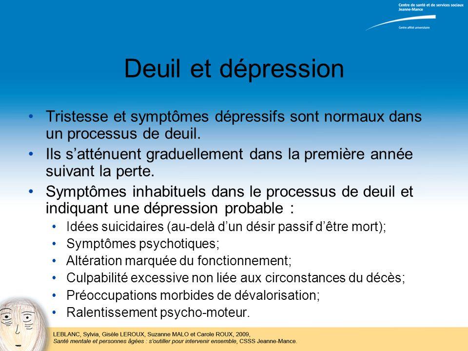 Deuil et dépression Tristesse et symptômes dépressifs sont normaux dans un processus de deuil. Ils satténuent graduellement dans la première année sui