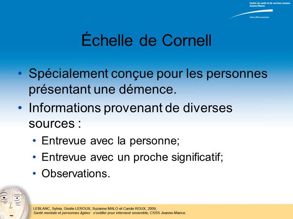 Échelle de Cornell Spécialement conçue pour les personnes présentant une démence. Informations provenant de diverses sources : Entrevue avec la person