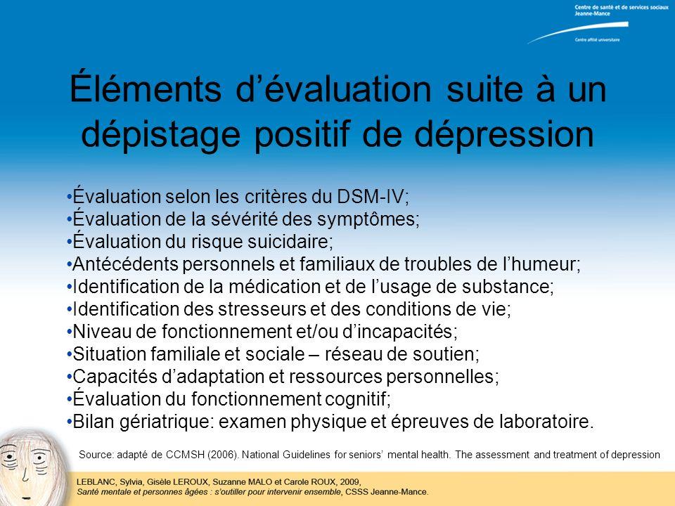 Éléments dévaluation suite à un dépistage positif de dépression Évaluation selon les critères du DSM-IV; Évaluation de la sévérité des symptômes; Éval