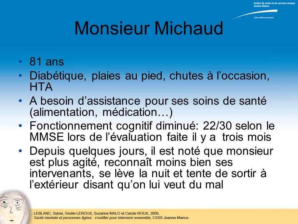 Monsieur Michaud 81 ans Diabétique, plaies au pied, chutes à loccasion, HTA A besoin dassistance pour ses soins de santé (alimentation, médication…) F
