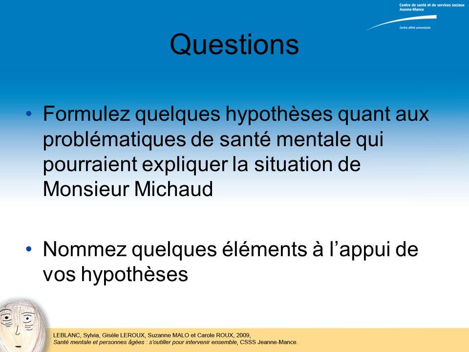Questions Formulez quelques hypothèses quant aux problématiques de santé mentale qui pourraient expliquer la situation de Monsieur Michaud Nommez quel