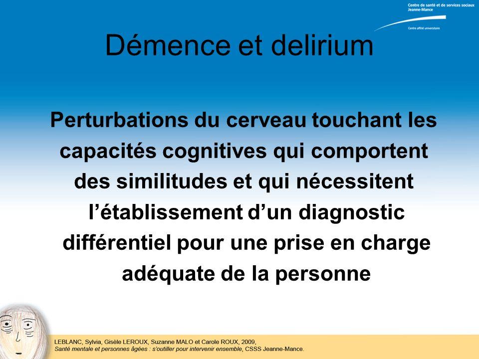 Démence et delirium Perturbations du cerveau touchant les capacités cognitives qui comportent des similitudes et qui nécessitent létablissement dun di