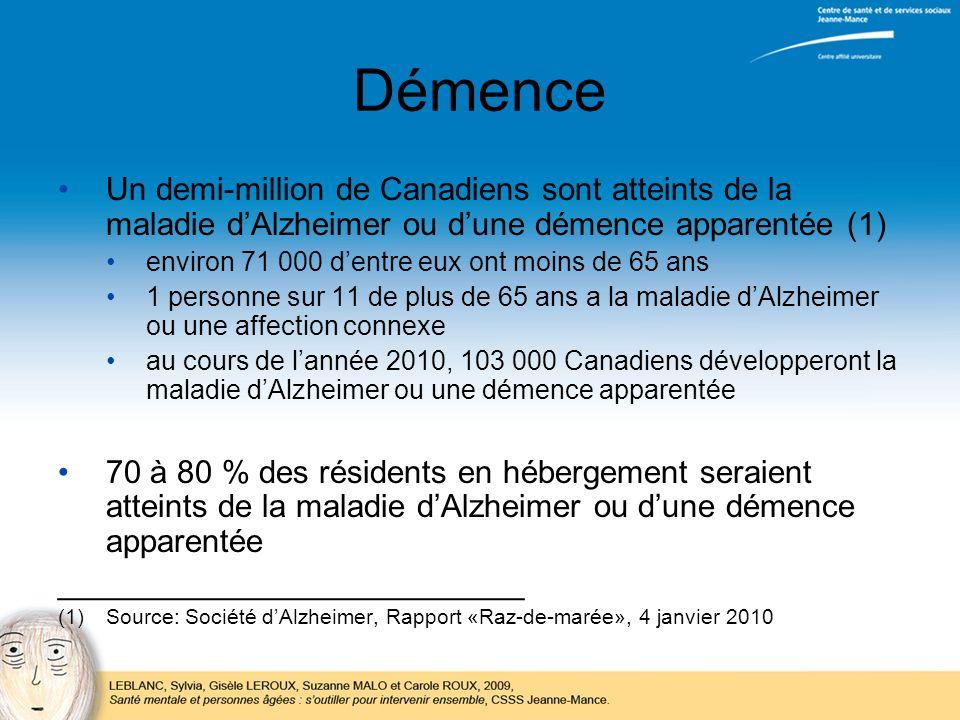 Démence Un demi-million de Canadiens sont atteints de la maladie dAlzheimer ou dune démence apparentée (1) environ 71 000 dentre eux ont moins de 65 a