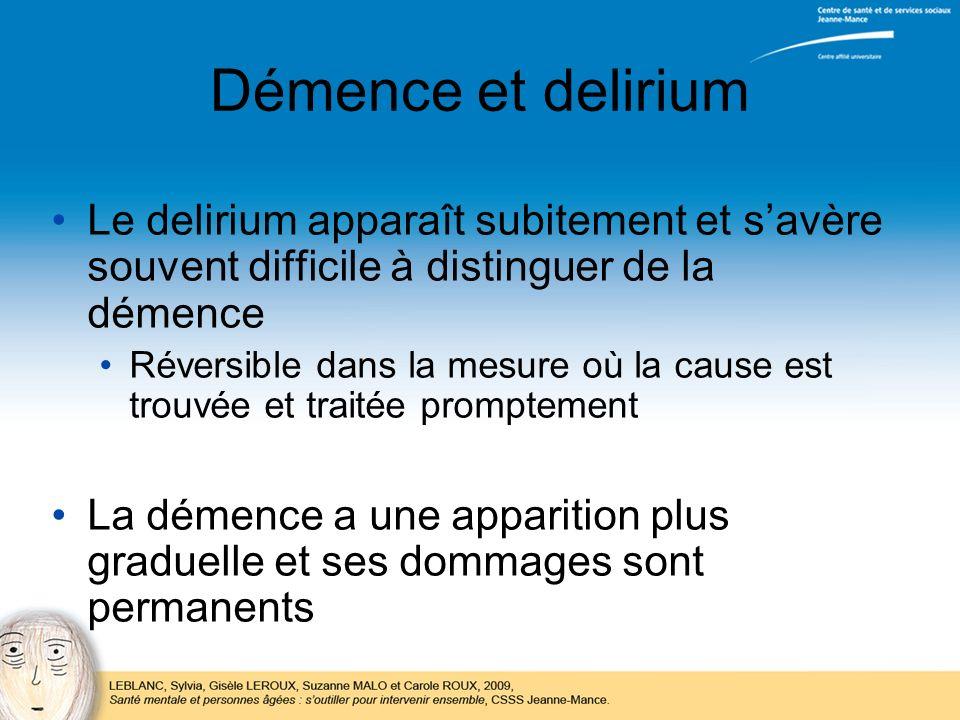 Démence et delirium Le delirium apparaît subitement et savère souvent difficile à distinguer de la démence Réversible dans la mesure où la cause est t