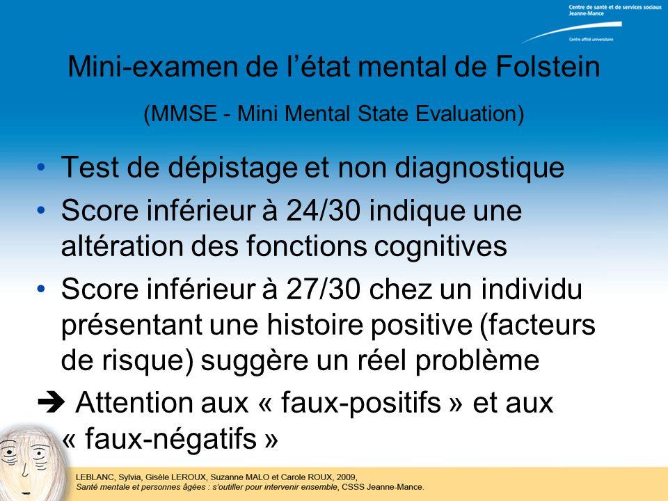 Mini-examen de létat mental de Folstein (MMSE - Mini Mental State Evaluation) Test de dépistage et non diagnostique Score inférieur à 24/30 indique un