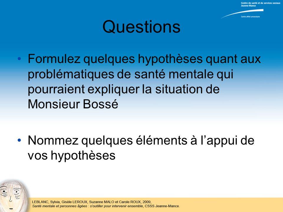 Questions Formulez quelques hypothèses quant aux problématiques de santé mentale qui pourraient expliquer la situation de Monsieur Bossé Nommez quelqu