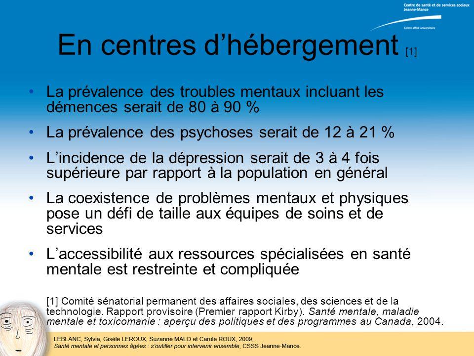 En centres dhébergement [1] La prévalence des troubles mentaux incluant les démences serait de 80 à 90 % La prévalence des psychoses serait de 12 à 21