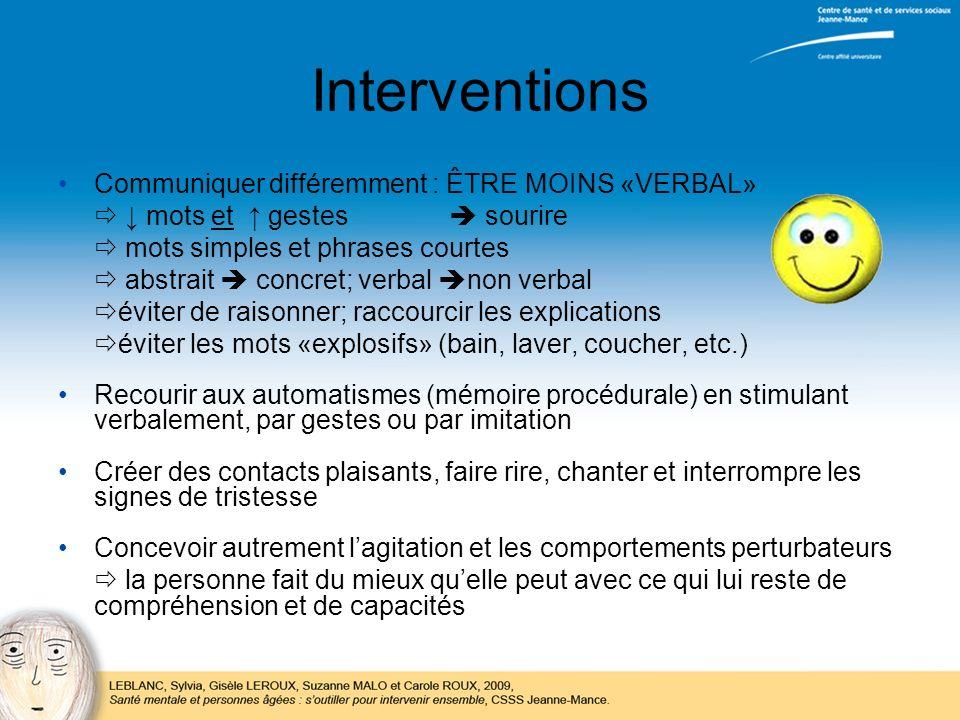 Interventions Communiquer différemment : ÊTRE MOINS «VERBAL» mots et gestes sourire mots simples et phrases courtes abstrait concret; verbal non verba